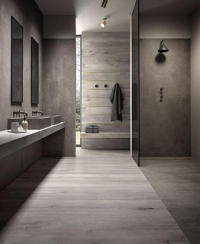 Bathroom Tiles Kronos Ceramiche, Grey Wood Tile Bathroom