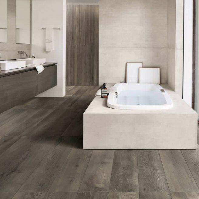 bathtub cover in concrete look tiles