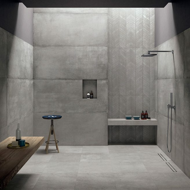 concrete look shower tray